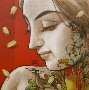 Couple I by Sukanta Das, Expressionism Painting, Mixed Media on Canvas, Red color