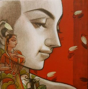 Couple 2 by Sukanta Das, Expressionism Painting, Mixed Media on Canvas, Red color