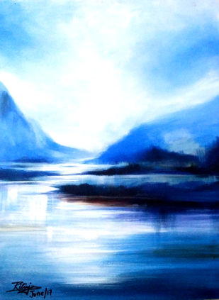 BLUE IS THE WARMEST COLOUR by RITUJA MITRA, Impressionism Painting, Acrylic on Canvas, Tropical Blue color