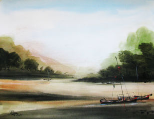 Voyage-01 by RITUJA MITRA, Impressionism Painting, Watercolor on Paper, Kelp color