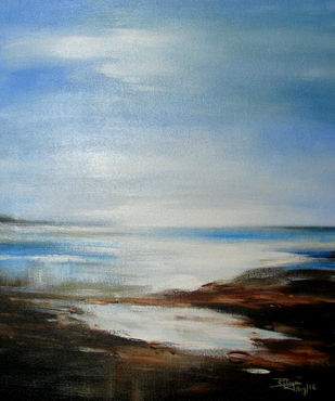 Blue Horizon by RITUJA MITRA, Impressionism Painting, Acrylic on Canvas, Gull Gray color