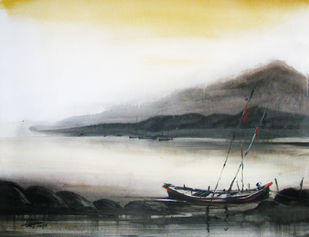 Voyage-02 by RITUJA MITRA, Impressionism Painting, Acrylic on Canvas, Moon Mist color