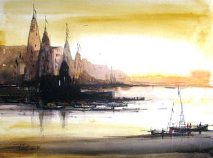 Banaras-01 by RITUJA MITRA, Impressionism Painting, Watercolor on Paper, Sorrell Brown color