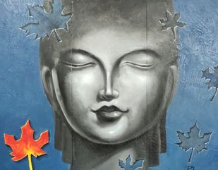 Tathagata by RITUJA MITRA, Expressionism Painting, Acrylic on Canvas, Slate Gray color