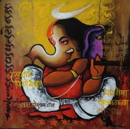 bappa by Anand Dharmadhikari, Decorative Painting, Acrylic on Canvas, Pickled Bean color