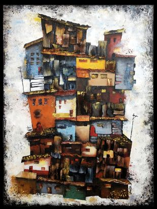 A Shanty Town by Ankita Dey Bhoumik, Expressionism Painting, Mixed Media on Canvas, Pearl Bush color