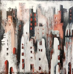 A Drenched Metropolis by Ankita Dey Bhoumik, Expressionism Painting, Mixed Media on Canvas, Merlin color
