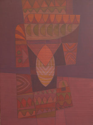 SONG OF LIFE by Digamber Gavali, Geometrical Painting, Acrylic on Canvas, Spicy Mix color