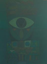 SONG OF LIFE by Digamber Gavali, Expressionism Painting, Acrylic on Canvas, Mineral Green color