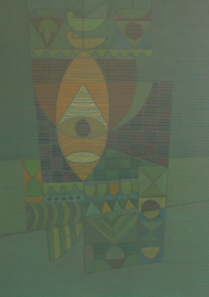 SONG OF LIFE by Digamber Gavali, Geometrical Painting, Acrylic on Canvas, Cactus color