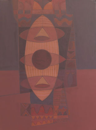 SONG OF LIFE by Digamber Gavali, Geometrical Painting, Acrylic on Canvas, Ferra color