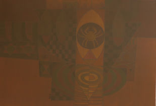 SONG OF LIFE by Digamber Gavali, Geometrical Painting, Acrylic on Canvas, Spice color