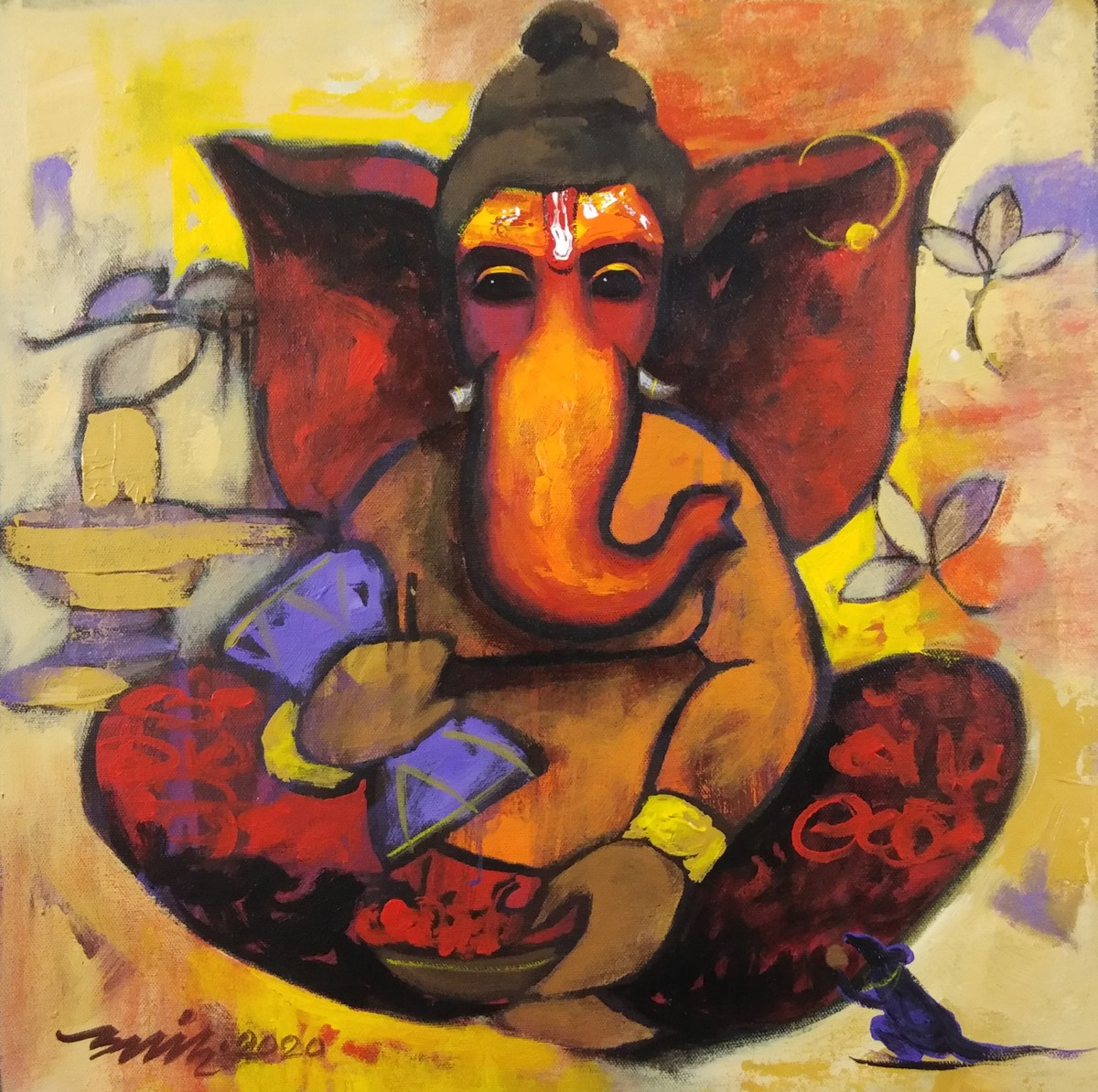 bappa by Anand Dharmadhikari, Expressionism Painting, Acrylic on Canvas, Cocoa Brown color