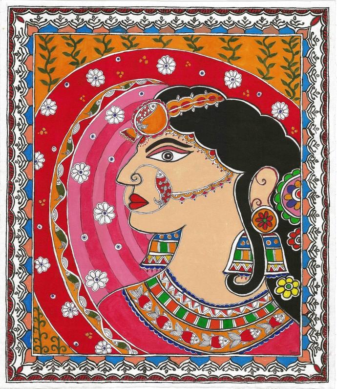 Madhubani - The Indian bride by Jyoti Mallick, Folk Painting, Acrylic on Canvas, Chocolate color