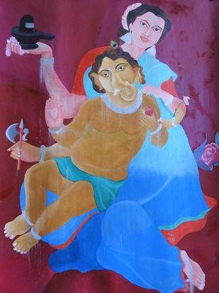 MAA by KAJAL PANCHAL, Expressionism Painting, Oil on Paper, Orchid Pearl color