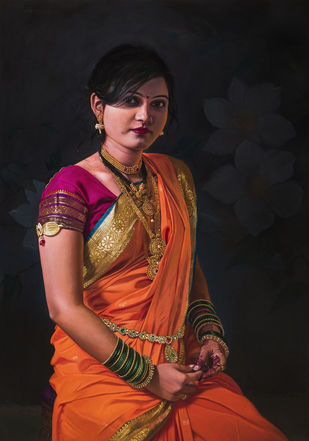 Maharashtrian beauty by Mahesh Soundatte, Realism Painting, Oil on Linen, Eerie Black color