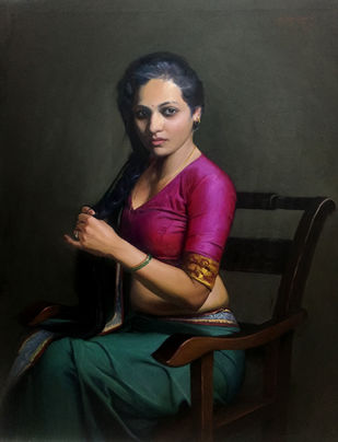 UNTILED by Mahesh Soundatte, Realism Painting, Oil on Linen, Tuatara color