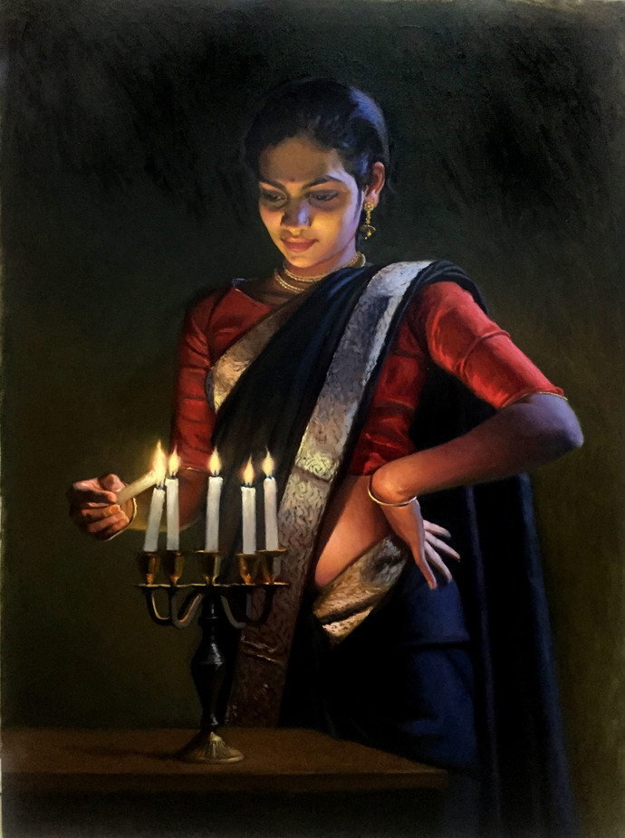 To light a candel by Mahesh Soundatte, Realism Painting, Oil on Linen, Zeus color