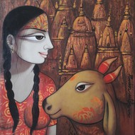 PUJA by Pravin Utge, Traditional Painting, Acrylic on Canvas, Kabul color