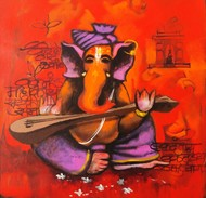bappa by Anand Dharmadhikari, Decorative Painting, Acrylic on Canvas, Cinnabar color