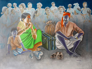 WAITING by Konduru Nageswar rao, Expressionism Painting, Acrylic on Canvas, Lemon Grass color
