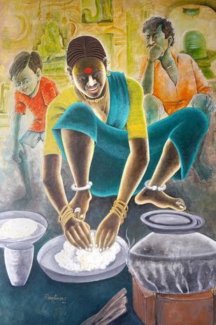 PREPARING FOOD by Konduru Nageswar rao, Expressionism Painting, Acrylic on Canvas, Clay Creek color