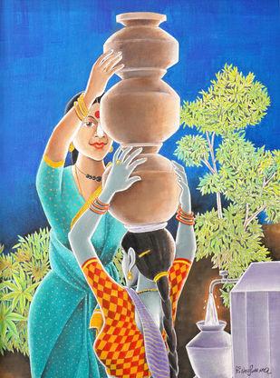 HELPING by Konduru Nageswar rao, Expressionism Painting, Acrylic on Canvas, Denim color