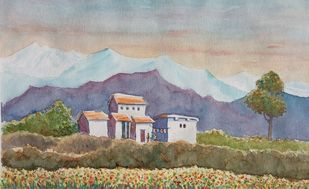 Houses in the Himalayas by Ajay Anand, Impressionism Painting, Watercolor on Paper, Star Dust color
