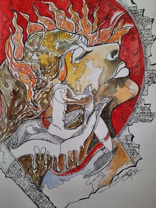 The Ultimate Flame by Sulagna Byapari, Expressionism Painting, Ink/ watercolour/acrylic on handmade paper, Gray color
