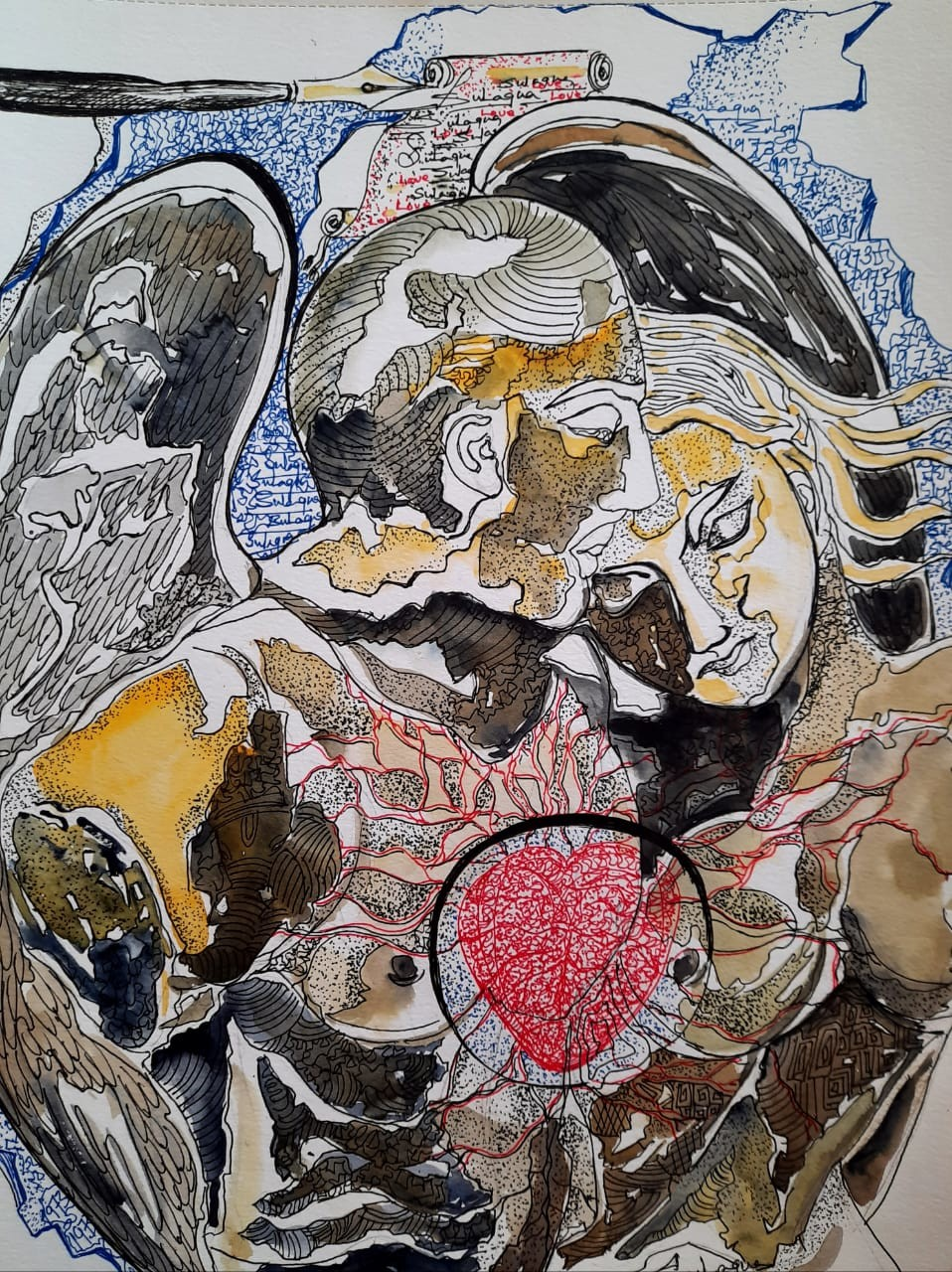 Bond of Love and Care by Sulagna Byapari, Expressionism Painting, Ink/ watercolour/acrylic on handmade paper, Tide color
