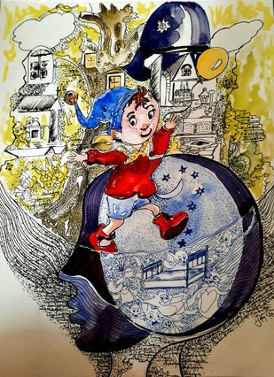 Around the World of Noddy by Sulagna Byapari, Illustration Painting, Ink/ watercolour/acrylic on handmade paper, Heathered Gray color