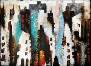 Concrete Jungle by Ankita Dey Bhoumik, Abstract Painting, Mixed Media on Canvas, Heavy Metal color