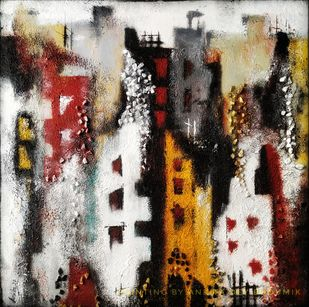 Neighborhood by Ankita Dey Bhoumik, Abstract Painting, Mixed Media on Canvas, Swirl color