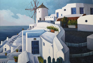 Mykonos Greece by Sanjay Bhattacharya, Impressionism Painting, Oil on Canvas, Bali Hai color