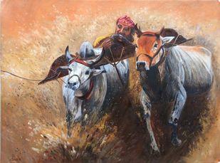 Kambla by Surekha Kamath, Impressionism Painting, Oil on Canvas, Antique Brass color