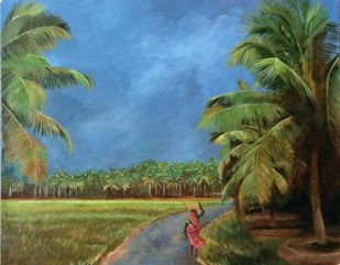 Cloudy day by Surekha Kamath, Impressionism Painting, Oil on Canvas, Finch color