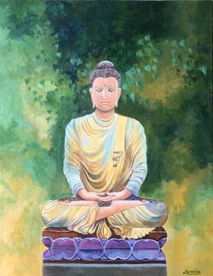 Buddha by Surekha Kamath, Impressionism Painting, Acrylic on Canvas, Mineral Green color