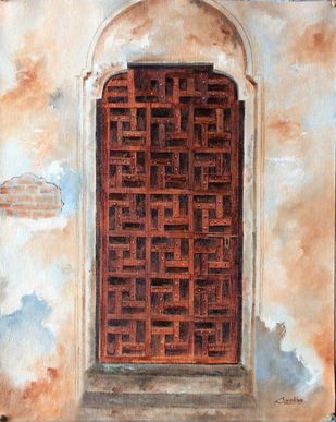 Doorway by Surekha Kamath, Expressionism Painting, Oil on Canvas, Sisal color