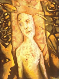 Matriarch by Ajit Seal, Expressionism Printmaking, Lithography on Paper, Irish Coffee color