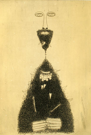 He by Jai Zharotia, Surrealism Printmaking, Etching on Paper, Lisbon Brown color