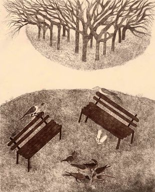 Benches and Birds by Naina Dalal, Conceptual Printmaking, Etching on Paper, Grain Brown color