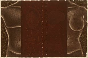 Untitled by Rajan Fulari, Conceptual Printmaking, Etching on Paper, Brown Derby color