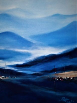 Blue Mountain by RITUJA MITRA, Impressionism Painting, Acrylic on Canvas, Black Pearl color