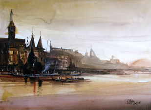 Banaras-02 by RITUJA MITRA, Impressionism Painting, Watercolor on Paper, Heathered Gray color
