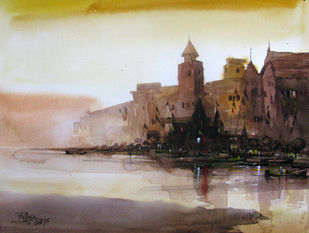 Banaras-03 by RITUJA MITRA, Impressionism Painting, Watercolor on Paper, Swirl color