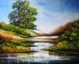 Serenity by RITUJA MITRA, Impressionism Painting, Acrylic on Canvas, Polo Blue color