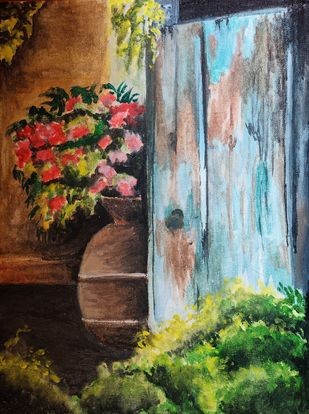 Back Door by Samiya Akhtar, Expressionism Painting, Mixed Media on Canvas, Birch color