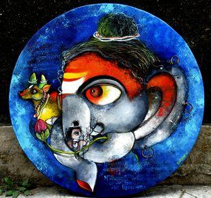 Siddhivinayaka by Sharmi Dey, Abstract, Art Deco Painting, Acrylic on Canvas, Eunry color
