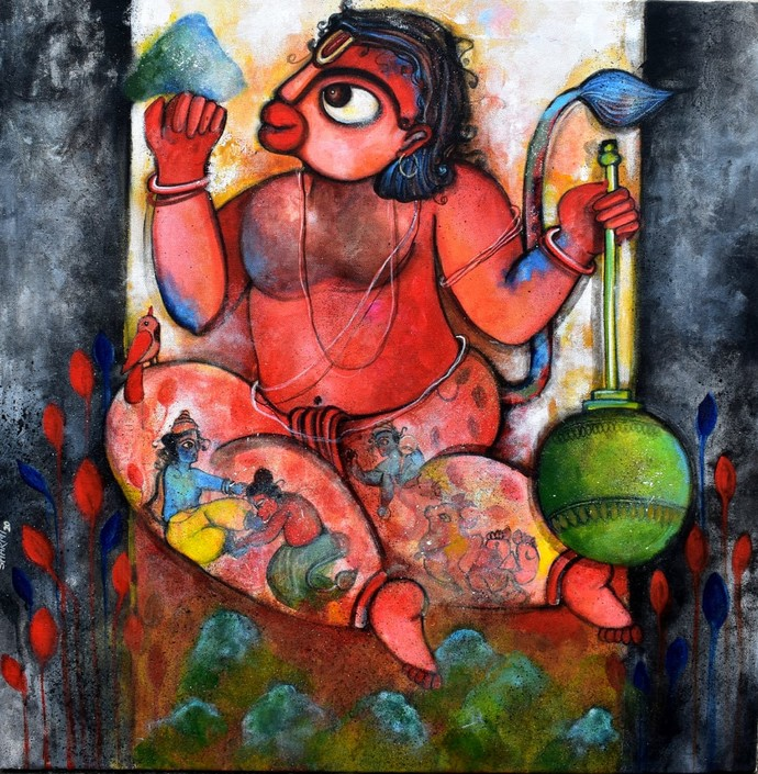 Pavanputra by Sharmi Dey, Decorative, Folk, Traditional Painting, Acrylic on Canvas, Copper color