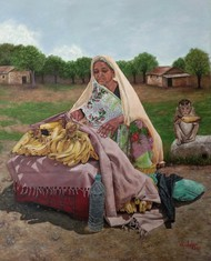 Monkey and The Old Lady by Nilofar Ansari, Folk, Photorealism Painting, Oil on Canvas, Tobacco Brown color